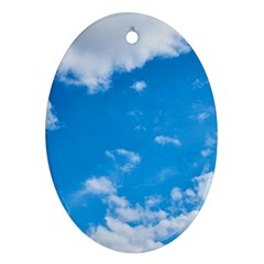 Sky Blue Clouds Nature Amazing Oval Ornament (two Sides)