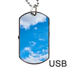 Sky Blue Clouds Nature Amazing Dog Tag USB Flash (One Side)