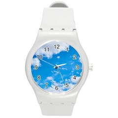 Sky Blue Clouds Nature Amazing Round Plastic Sport Watch (M)