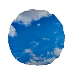 Sky Blue Clouds Nature Amazing Standard 15  Premium Round Cushions