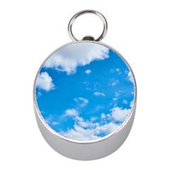 Sky Blue Clouds Nature Amazing Mini Silver Compasses