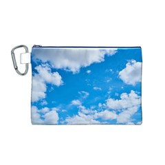 Sky Blue Clouds Nature Amazing Canvas Cosmetic Bag (M)