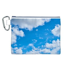Sky Blue Clouds Nature Amazing Canvas Cosmetic Bag (L)