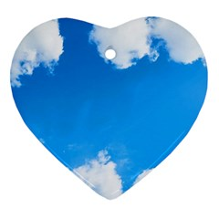 Sky Clouds Blue White Weather Air Ornament (heart)