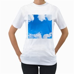 Sky Clouds Blue White Weather Air Women s T Shirt (white) (two Sided)