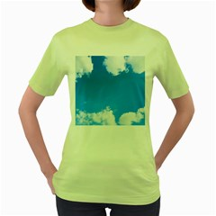 Sky Clouds Blue White Weather Air Women s Green T Shirt