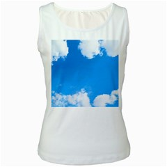 Sky Clouds Blue White Weather Air Women s White Tank Top