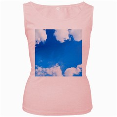Sky Clouds Blue White Weather Air Women s Pink Tank Top