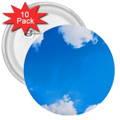 Sky Clouds Blue White Weather Air 3  Buttons (10 Pack)