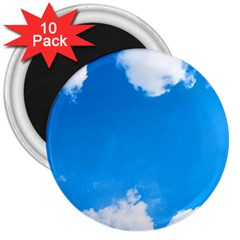 Sky Clouds Blue White Weather Air 3  Magnets (10 Pack)