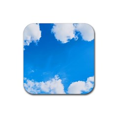 Sky Clouds Blue White Weather Air Rubber Square Coaster (4 Pack)