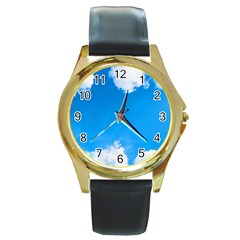 Sky Clouds Blue White Weather Air Round Gold Metal Watch