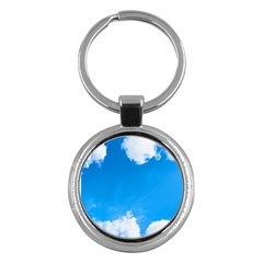 Sky Clouds Blue White Weather Air Key Chains (Round)