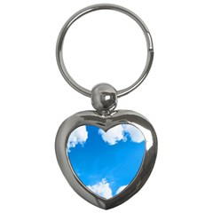 Sky Clouds Blue White Weather Air Key Chains (heart)