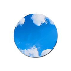 Sky Clouds Blue White Weather Air Rubber Coaster (Round)