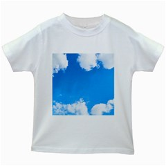 Sky Clouds Blue White Weather Air Kids White T-Shirts