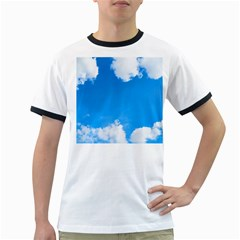 Sky Clouds Blue White Weather Air Ringer T Shirts