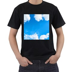Sky Clouds Blue White Weather Air Men s T-Shirt (Black) (Two Sided)