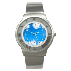 Sky Clouds Blue White Weather Air Stainless Steel Watch