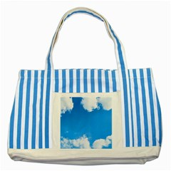 Sky Clouds Blue White Weather Air Striped Blue Tote Bag