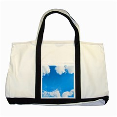 Sky Clouds Blue White Weather Air Two Tone Tote Bag