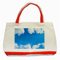 Sky Clouds Blue White Weather Air Classic Tote Bag (Red)