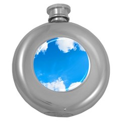 Sky Clouds Blue White Weather Air Round Hip Flask (5 Oz)