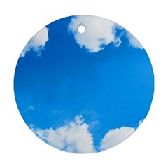 Sky Clouds Blue White Weather Air Round Ornament (Two Sides)