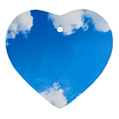 Sky Clouds Blue White Weather Air Heart Ornament (Two Sides)