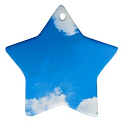 Sky Clouds Blue White Weather Air Star Ornament (two Sides)