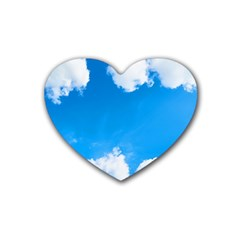 Sky Clouds Blue White Weather Air Rubber Coaster (heart)