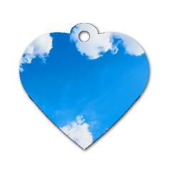 Sky Clouds Blue White Weather Air Dog Tag Heart (two Sides)