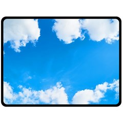 Sky Clouds Blue White Weather Air Fleece Blanket (Large)