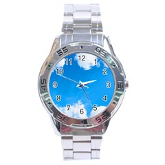 Sky Clouds Blue White Weather Air Stainless Steel Analogue Watch