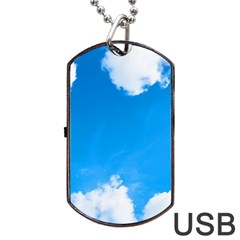 Sky Clouds Blue White Weather Air Dog Tag USB Flash (Two Sides)