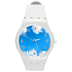 Sky Clouds Blue White Weather Air Round Plastic Sport Watch (M)