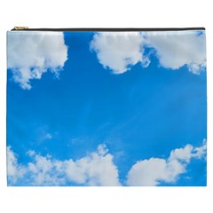 Sky Clouds Blue White Weather Air Cosmetic Bag (XXXL)