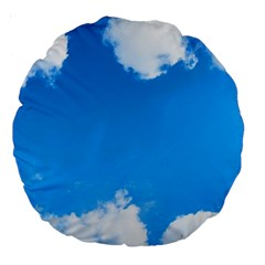 Sky Clouds Blue White Weather Air Large 18  Premium Round Cushions