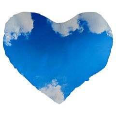 Sky Clouds Blue White Weather Air Large 19  Premium Heart Shape Cushions