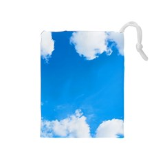 Sky Clouds Blue White Weather Air Drawstring Pouches (Medium)