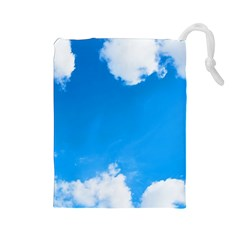 Sky Clouds Blue White Weather Air Drawstring Pouches (Large)