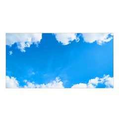 Sky Clouds Blue White Weather Air Satin Shawl