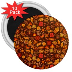 Pattern Background Ethnic Tribal 3  Magnets (10 Pack)
