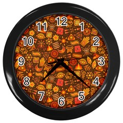Pattern Background Ethnic Tribal Wall Clocks (black)