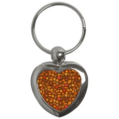 Pattern Background Ethnic Tribal Key Chains (Heart)