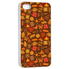Pattern Background Ethnic Tribal Apple iPhone 4/4s Seamless Case (White)