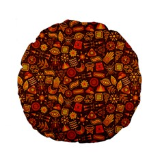 Pattern Background Ethnic Tribal Standard 15  Premium Flano Round Cushions