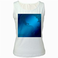 Fractals Lines Wave Pattern Women s White Tank Top