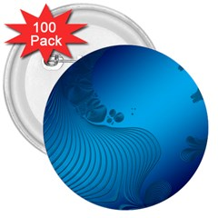 Fractals Lines Wave Pattern 3  Buttons (100 Pack)