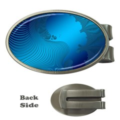 Fractals Lines Wave Pattern Money Clips (Oval)